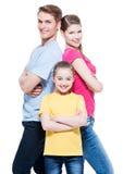 与女儿的愉快的可爱的家庭 库存图片