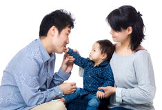 与女儿的父母戏剧 免版税库存照片