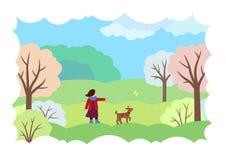 与女孩、狗和蝴蝶的春天风景 库存例证