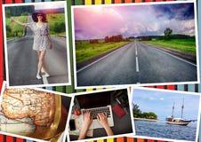 与女孩和旅行题材的拼贴画 免版税图库摄影