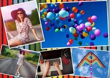 与女孩和旅行题材的拼贴画 免版税库存照片