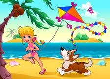 与女孩和狗的滑稽的场面在海滩 免版税库存照片