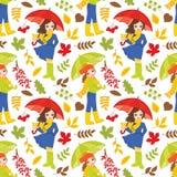与女孩和秋天五颜六色的叶子的传染媒介无缝的样式 皇族释放例证