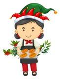 与女孩和面包的圣诞节题材 免版税库存照片