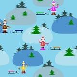 与女孩的无缝的样式在山中在冬天 免版税库存照片