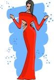 与女孩的时尚剪影红色礼服传染媒介的 库存照片