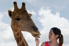 与女孩的长颈鹿 免版税库存照片