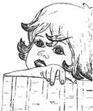 与女孩的面孔的手拉的铅笔剪影 儿童画象 库存图片