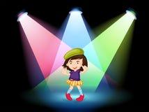 与女孩跳舞的一个阶段 免版税图库摄影