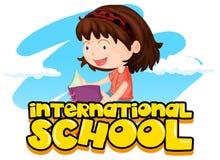 与女孩阅读书的国际学校标志 向量例证
