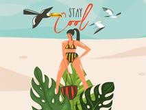 与女孩,在海滩的toucan鸟的手拉的传染媒介摘要动画片夏时图表例证艺术模板标志背景 向量例证