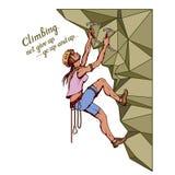 与女孩,妇女登山家,高山上升,登山,登山,登山家女孩字符,攀登概念的登山家口号 皇族释放例证