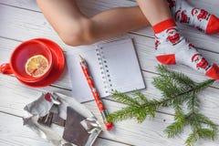 与女孩` s脚的圣诞节照片在明亮的红色袜子、一根冷杉枝杈、一个笔记本和一支铅笔在一个白色木地板上 库存照片