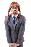 与女性假发的滑稽的商人 库存图片