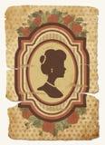 与女性剪影,传染媒介的葡萄酒明信片 免版税库存照片