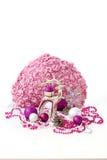 与女性颜色的圣诞节装饰 免版税图库摄影