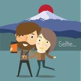 与女朋友的Selfie在日本 免版税库存照片