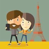 与女朋友的Selfie在巴黎 免版税图库摄影
