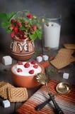 与奶油、曲奇饼和牛奶,老概略的板的野草莓 免版税库存照片