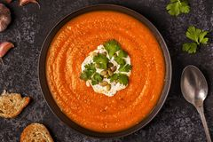 与奶油、种子和荷兰芹的南瓜和红萝卜汤 免版税库存图片