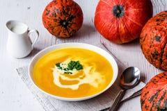 与奶油和荷兰芹的南瓜汤 素食主义者食物 库存照片