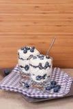 与奶油和蛋白甜饼的蓝莓点心 库存图片