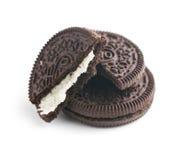 与奶油的巧克力曲奇饼 图库摄影