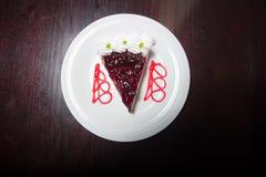 与奶油的蓝莓乳酪蛋糕在上面 图库摄影
