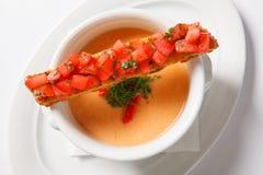 与奶油的蔬菜汤在深白色碗 库存照片