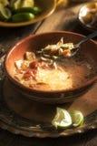 与奶油的辣墨西哥汤 鲕梨、石灰、鸡胸脯和玉米粉薄烙饼 免版税库存照片