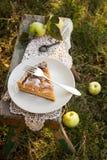 与奶油色装填的苹果饼 库存图片
