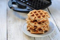 与奶蛋烘饼铁的整粒麦子和燕麦奶蛋烘饼 免版税图库摄影