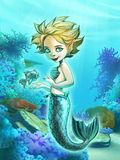 与她的宠物鱼的美丽的美人鱼 免版税库存图片