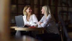 与她的客户的女商人会谈咖啡馆的 股票录像