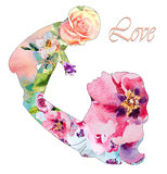 与她的婴孩的美丽的母亲剪影有花卉背景 母亲节卡片  免版税库存照片