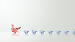 与她的婴孩origami例证的母亲天鹅 免版税图库摄影