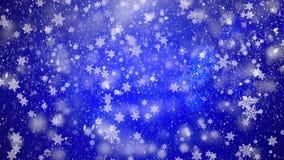 与好的落的蓝色雪雪花的抽象loopable背景 库存例证
