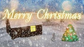 与好的雪和圣诞树3D翻译的背景 图库摄影