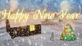 与好的雪和圣诞树3D翻译的背景 免版税库存照片
