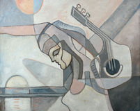 与妇女和吉他的抽象绘画 皇族释放例证
