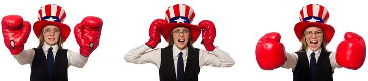 与妇女和美国帽子的拼贴画 库存图片