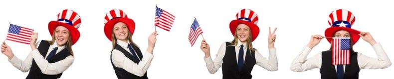 与妇女和美国帽子的拼贴画 免版税库存图片