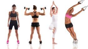 与妇女教练的健身锻炼 免版税图库摄影