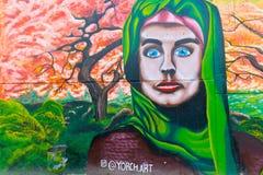 与妇女的壁画从第十三个处所惊吓了在Medelli 库存照片