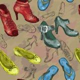 与妇女鞋子的无缝的样式 免版税库存照片