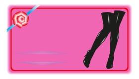 与妇女` s腿的明信片 色的向量例证 以颜色的形式有条件传染媒介图象 皇族释放例证