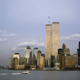 与姊妹楼的NYC地平线 免版税库存图片