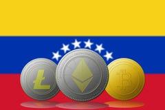 与委内瑞拉旗子的Litecoin Ethereum Bitcoin cryptocurrency在背景 图库摄影