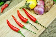 与姜非洲黑人石灰叶子的辣椒用在麻袋布背景的泰国葱 免版税图库摄影