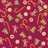 与姜饼人,曲奇饼的无缝的圣诞节样式 免版税库存照片